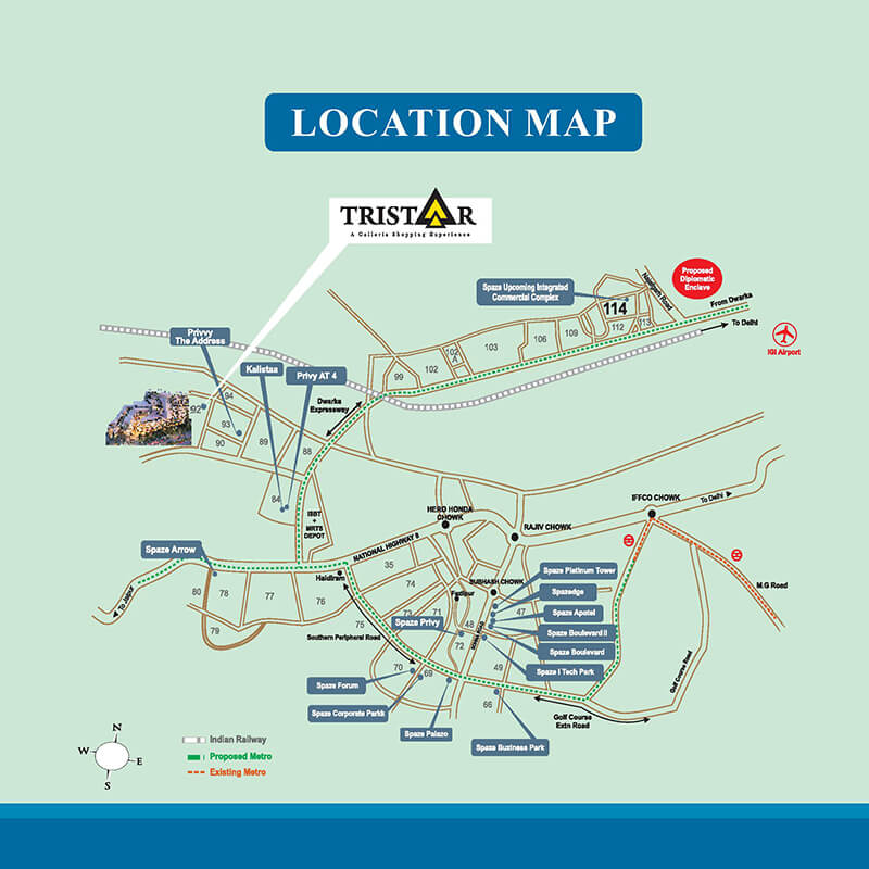 spaze tristaar retail shops food courts sector 92 gurgaon